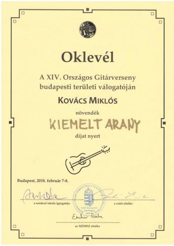 Kovács Miklós kiemelt arany