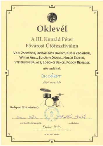 Oklevél III. Ütőfesztivál
