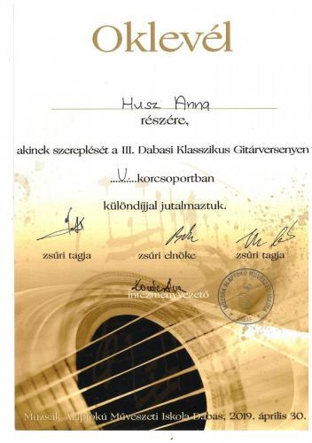 Husz Anna gitár különdíj Dabas